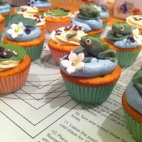 Frogs On A Lily Pad!   Cupcakes for a work charity bake sale