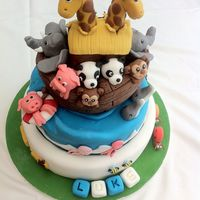 Noah's Ark   Noah's Ark Christening cake for my nephew. Vanilla sponge tiers & boat with fondant / gum paste animals.