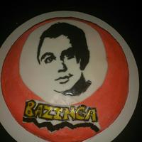 The Big Bang Theory Cake-Bazinga   This cake features Sheldon cooper from the big bang theory. I hand painted the decorations :-)