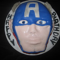 Captain America   Captain America cake. Cherry cake with monster energy drink frosting.Fondant for decor.