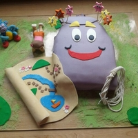 Dora The Explorer Dora the explorer, backpack cake with fondant Boots, Dora, map and stars.