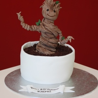 Guardians Of The Galaxy - Baby Groot Baby Groot cake - peanut butter and chocolate fudge cake with baby Groot made from modelling paste. #IamGroot #GuardiansOfTheGalaxy