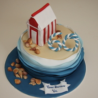"Beach Themed Cake Dairy free sponge with dairy free ""buttercream"" All details are edible."