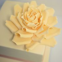 Oversized Sugar Rose   One of my favourite flowers to make! Ivory oversized sugar rose :)