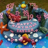 Little Mermaid Cake Little Mermaid Cake with all Fondant or Modeling Chocolate Decorations.