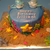 This Ocean Themed Birthday Cake Was For A Co Workers Daughters 7Th Birthday Party The Birthday Girl Wanted Dolphins On Her Cake And Of This ocean themed birthday cake was for a co-worker's daughter's 7th birthday party. The birthday girl wanted dolphins on her...