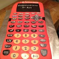 Pink Calculator Cake *This pink calculator cake was made for a brilliant young woman who had just defended her PhD dissertation. The cake was homemade white...