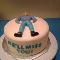 Strong Man Going Away Party Cake * A co-worker of mine had gotten a new job, and for his going away party I wanted to make a parody of him in fondant! He's obsessed...