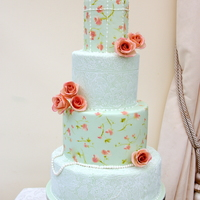 Painting Lace And Birdcage Cake 009