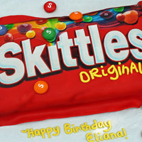Skittles Birthday Cake I don't have a picture of the inside but it was red, orange, yellow, green and purple stripped. I'm going to ask my customer if...