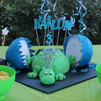 Kallum's Baby Dragon Cake My son picked this out of the Debbie Brown book. He wanted a baby Dinosaur but this dragon is soo cute. The restaurant we had his party at...