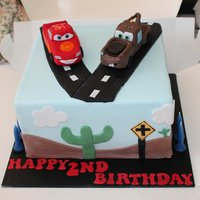 Cars Inspired Cake For Twins Jordan And Liam Lightening Mcqueen And Mater Made By Hand Out Of Fondant Cars Inspired cake for Twins Jordan and Liam.Lightening McQueen and Mater made by hand out of fondant.