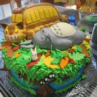 My Neighbour Totoro Cake My Neighbour Totoro cake I made for Thanksgiving. Chocolate cake, chocolate and vanilla buttercream. Fondant, and fondant covered rice...
