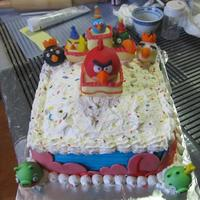 Angry Birds Birthday Cake Angry Birds birthday cake, for a friend's mom. Buttercream with fondant decorations.