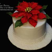 Poinsettia Cake   Sugar flower poinsettia cake