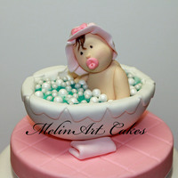 Little Girl In Tub   Little girl in tub cake topper for a baby shower cake.