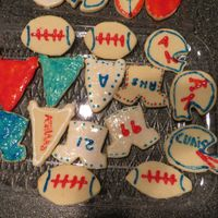 Football Cookies My sister and I made these football cookies for her cheerleading team! They came out awesome!