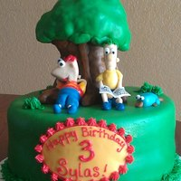 Phineas & Ferb *Tree is made of rice crispy treat....Phineas & ferb are gumpaste. 100% edible