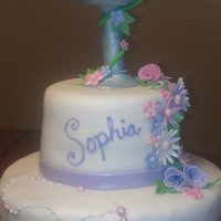 First Communion Cakes *Gumpaste Chalice with flowers and rosary...all 100% edible
