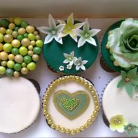 Green And Gold Theme Cupcakes / Mehendhi Theme Cupcakes