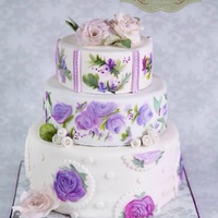 Three Tier Hand Painted Cake With Hand Crafted Sugar Roses   Three tier hand painted cake with hand crafted sugar roses