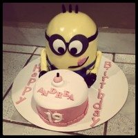 Despicable Me!!! Minion Cake Minion cake rainbow cake inside