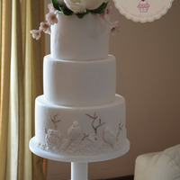 Wedding Cake With Magnolia Flower