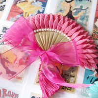 Belle Epoque Feather Fan Cake Decoration Pink/gold