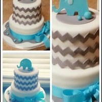 Chevron And Elephant Baby Shower Cake Hand drawn elephant template used for Gumpaste topper . Chevron cutter used from Not Just Cakes by Annie.