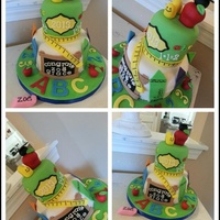 "Preschool Graduation Cake   Just a little 6""&4"" cake with all ediable accents. Had so much fun with this cake !"