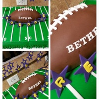 Bethel Wildcats Football Cake Full sheet Cake frosted with Buttercream. Football made with RTK covered in white fondant than sculpted into football final cover of...