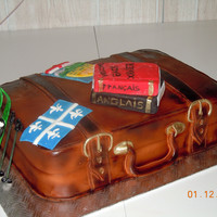 Suitcase everything ie edible chocolate cake covered with fondant the books are rkt