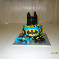 Bat Man head is rkt covered with fondant everything is edible