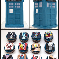 Dr Who Cake With Cupcakes Tardis cake for a birthday with cupcakes inspired in all doctors until now. The number 12 cupcake is for The master (whovians will...