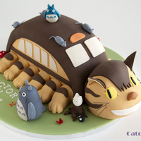 Catbus And Totoro Cake Catbus cake with Totoro for a twins birthday.