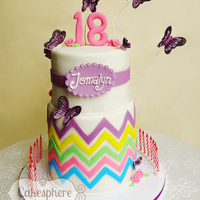 18Th Birthday Cake Rainbow Chevron themed chocolate & vanilla butter cake covered in fondant with sugarpaste butterflies decorations