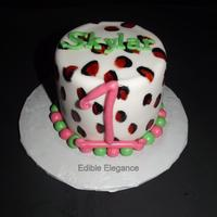"My Customer Requested A Leopard Print Smash Cake With Pink And Lime Green 4 Cake Covered In Fondant With Lots Of Buttercream Under The Fon... My customer requested a leopard print smash cake with pink and lime green. 4"" cake covered in fondant with lots of buttercream under..."