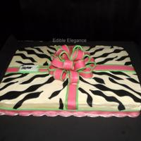 My Customer Requested A 12 Sheet Cake With Zebra Print Pink And Lime Green I Chose To Decorate This As A Gift Package Since There Would B My customer requested a 1/2 sheet cake with zebra print, pink and lime green. I chose to decorate this as a gift package since there would...