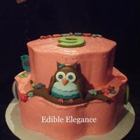 Owl Themed Birthday Cake Designed After Party Plates And Napkins Buttercream Frosting Fondant Decorations Owl themed birthday cake designed after party plates and napkins. Buttercream frosting / fondant decorations