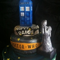 Dr Who Theme Birthday Cake   I put the LED light on the top,is chocolate cake with whipping cream & chocolate ganache filling