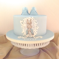 Baby Ollie Christening Cake hand painted Peter Rabbit cake