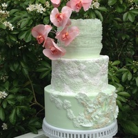 Lace Wedding Cake mint green and pink moth orchids