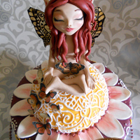 Meditation Fairy Sponge cake with toffee cream.The butterfly wings are made with gelatin. The little butterflies are edible also.