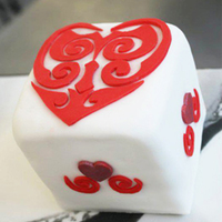 Mini Square Fruit Cake For Valentines Day Everything On The Cake Is Made Freehand No Cutters Used Httpswwwfacebookcomsweetlybaked  Mini square fruit cake for valentine's day, everything on the cake is made freehand, no cutters used. https://www.facebook.com/...