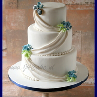 Made A Traditional Wedding Cake In White And Blue Made a traditional wedding cake in white and blue