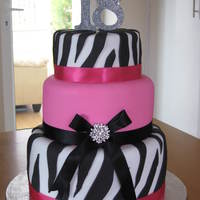 Lauras 18Th black and pink zebra 18th