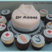 "Doctors Birthday Cake 6"" chocolate cake with matching chocolate & red velvet cupcakes - an order by a group of friends for a surprise birthday party."