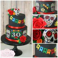 Mexican Day Of The Dead Featuring handmade sugar skull, roses and Mexican bunting