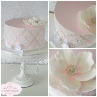 Pink & White Damask With Fantasy Flower