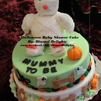 Halloween Baby Shower Cake   Halloween Baby Shower 2 Tier Fondant Cake